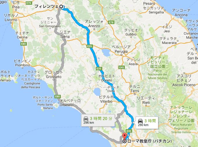 フィレンツェからローマへのルート