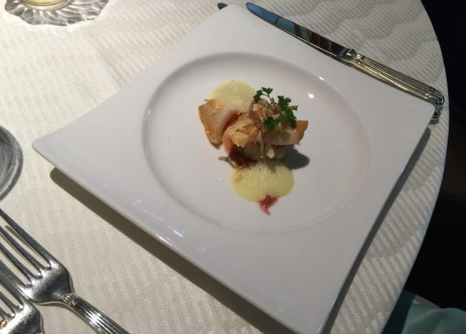 ツブ貝のソテー 根菜と貝柱の焼きリゾット